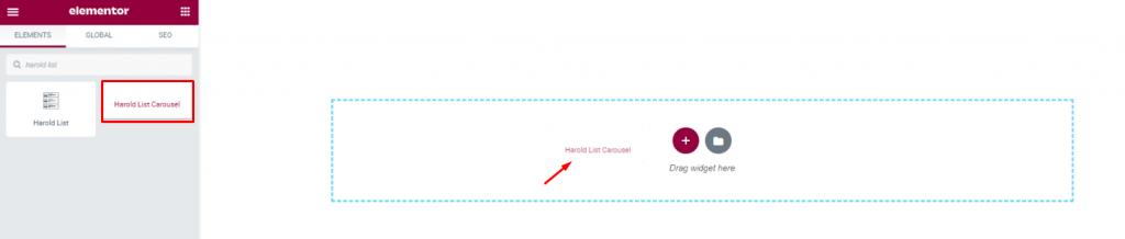 inserting Harold List Carousel widget