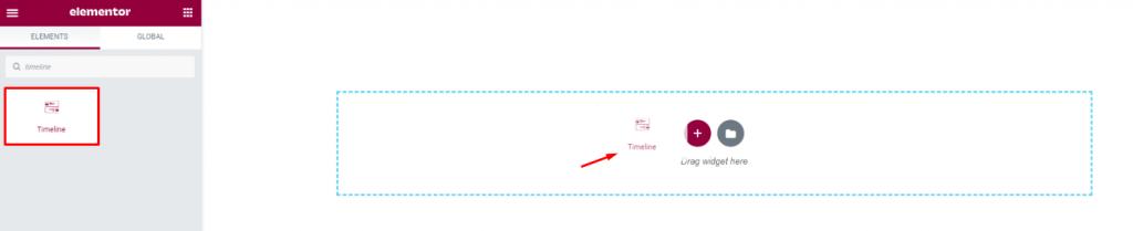 inserting the vertical timeline widget