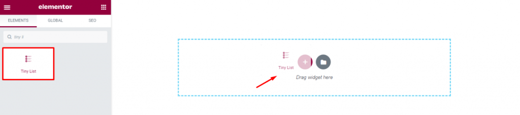 Elementor Tiny List Widget