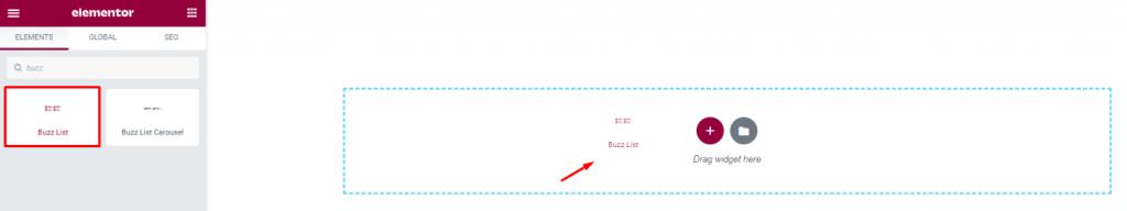 inserting Buzz List widget