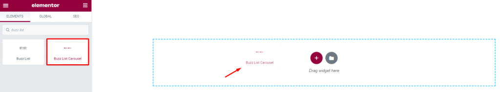 inserting Buzz List Carousel widget