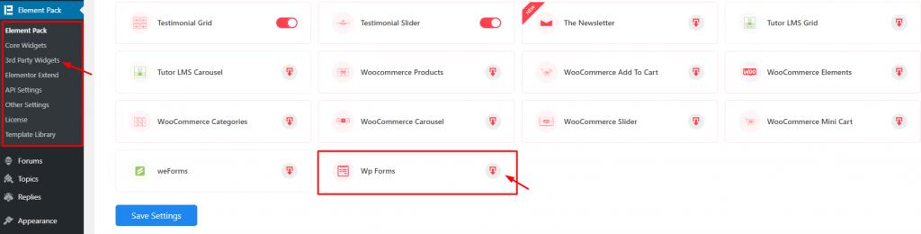 installing WP Forms widget
