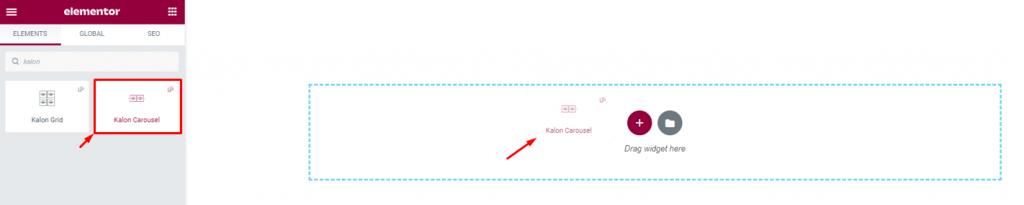 inserting Kalon Carousel widget