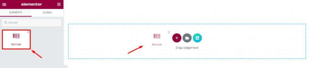 inserting the barcode widget